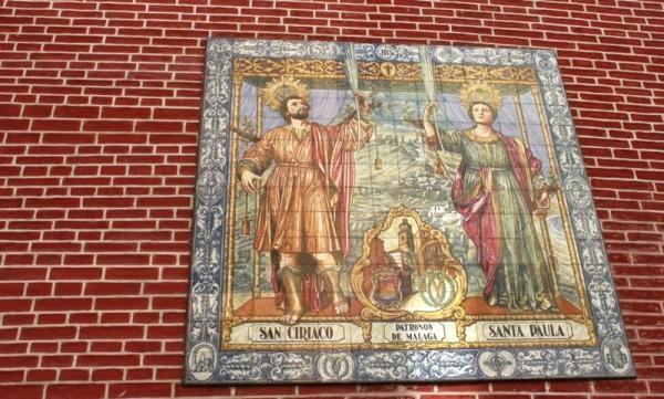 Икона мчч. Кириака и Павлы на стене храма свв. мучеников в Малаге