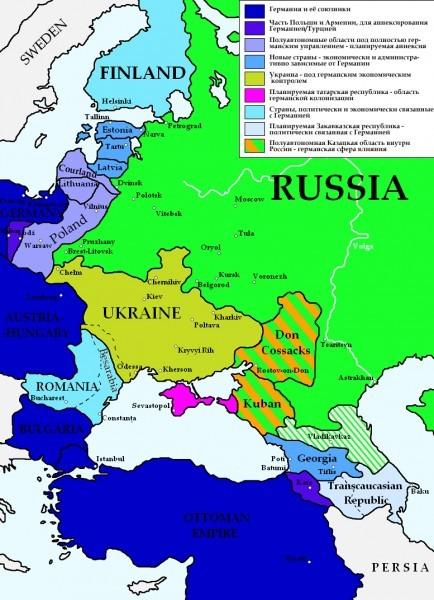 Восточная Европа по германскому плану после заключения Брестского мира