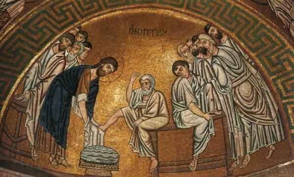 Омовение ног апостолам. Византийская мозаика начала XI века. Греция