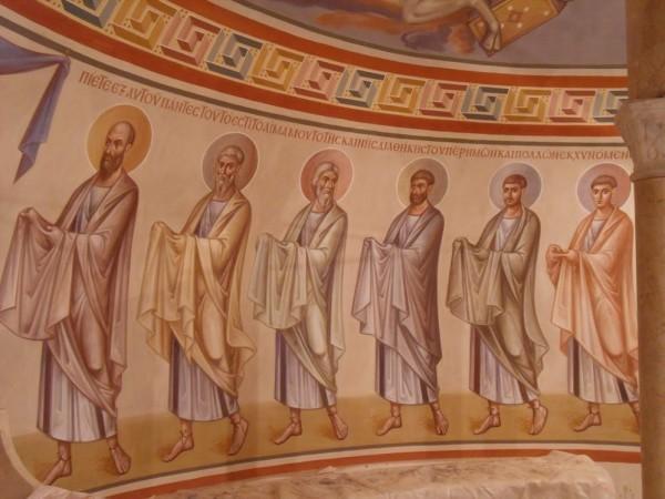 Апостолы. Фрагмент фрески из нижнего храма Феодоровского собора. Архимандрит Зинон, 2013 г.