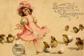 Девочка и цыплята