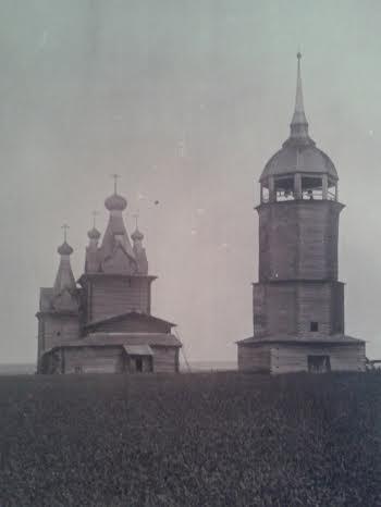Воскресенская церковь деревне Немнюга Пинежский район Архангельской области 1710-1712. Фото конца 1930-х годов