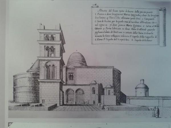 Храм Воскресения Христова в Иерусалиме. Гравюра из книги Бернардино Амико 1620 год