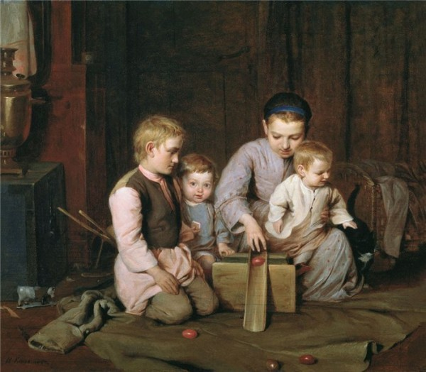 Дети, катающие пасхальные яйца. Вторая половина 19 века. Николай Кошелев