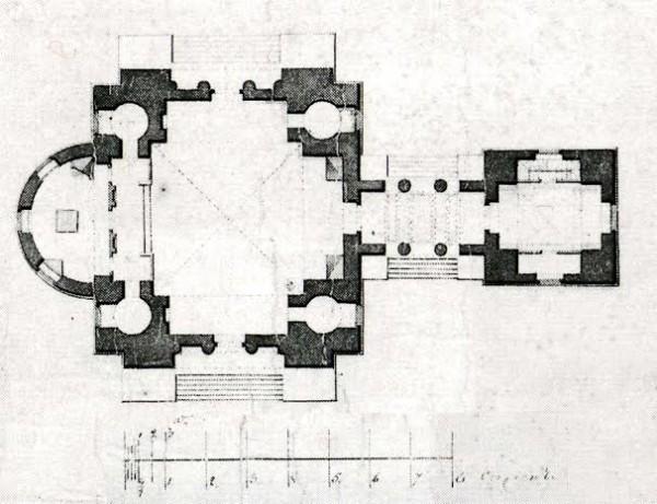 Чертёж церкви в имении Голицыных Новомихайловка на Орловщине из бумаг Жилярди (конструктивно сходный с храмом в Мольгино)
