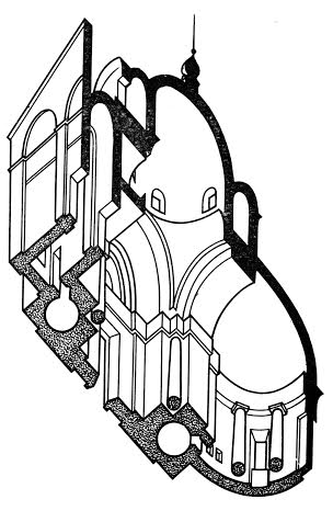 План храма в Мольгино в боковом разрезе (чертёж В.И. Плужникова)