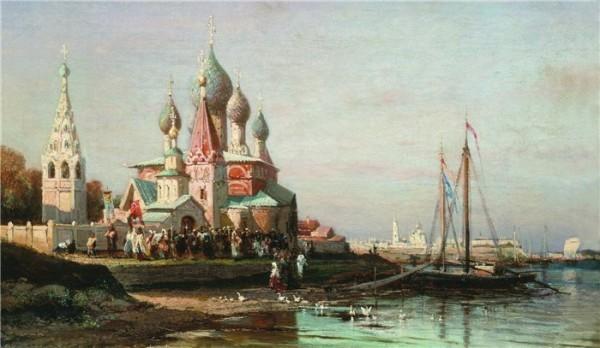 Крестный ход в Ярославле. 1863 год. Алексей Боголюбов