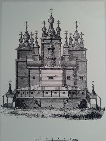 Воскресенский собор г. Кола. Мурманска область. 1681-1684. Рисунок XIX века