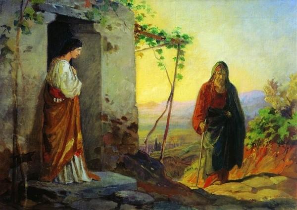 Николай Ге, Мария, сестра Лазаря, встречает Иисуса Христа, идущего к ним в дом