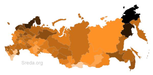 «Пасха в соцсетях» по регионам: данные прошли перевзвешиваниепо числу «пасхальных сообщений» на одного интернет-пользователя в каждом из регионов.