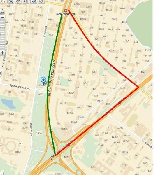 Схема проезда Тропарёвский храм (зелёным обозначен маршрут движения автобусов в обычный день, но на Вербное воскресение и Пасху они едут по красной траектории)