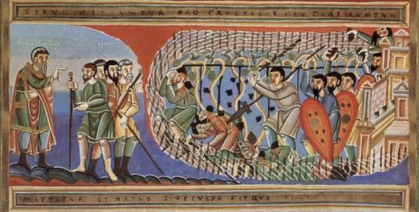 Притча о злых виноградарях. Кодекс Ауреус Эптернаценсис; Около 1035.