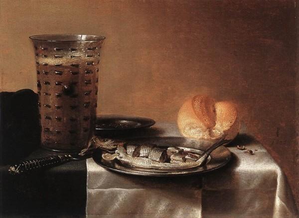 Питер Класс. Натюрморт с кружкой пива и рыбой. 1636 г.
