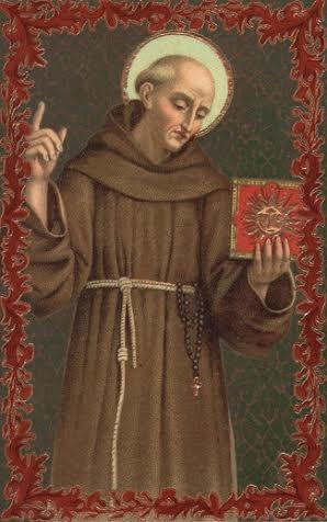 Бернардин Сиенский с изображением хризмы в руках