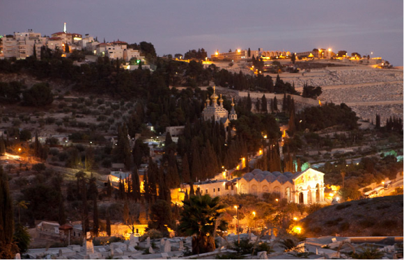 Вид на Елеонскую гору ночью