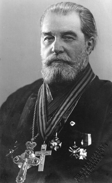 Протопресвитер Александр Шабашев, награжденный наперсным крестом на Георгиевской ленте в бытность полковым священником 233-го пехотного Старобельского полка.