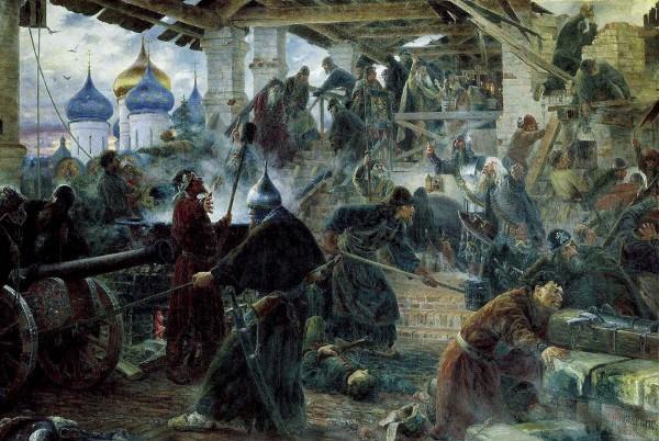 Оборона Троице-Сергиевой Лавры. Художник: С.Д. Милорадович, 1894. Фрагмент.