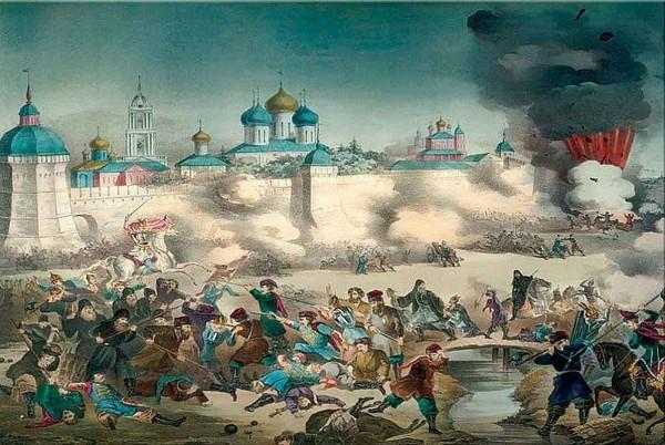 «Осада со взрывом». Литограф М. Гадалов. 1853.