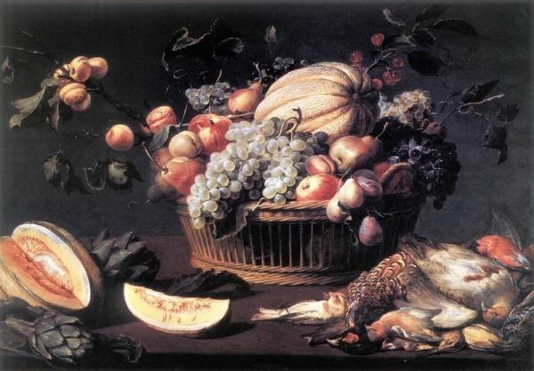 Ф. Снейдерс. (Фландрия) Натюрморт с фруктами и птицами. 1614 г.