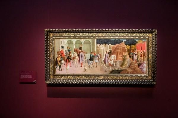 Франческо ди Стефано, прозванный Пезеллино. Гуальтьери отправляется на охоту, встреча Гуальтьери с Гризельдой. 1445-1450. Дерево, темпера