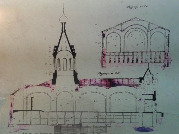 Чертежи строящегося храма. 1903 год
