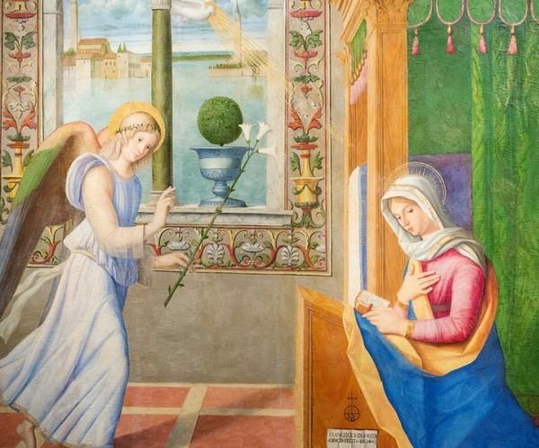 Фрагмент картины «Благовещение» Франческо ди Симоне да Сантакроче