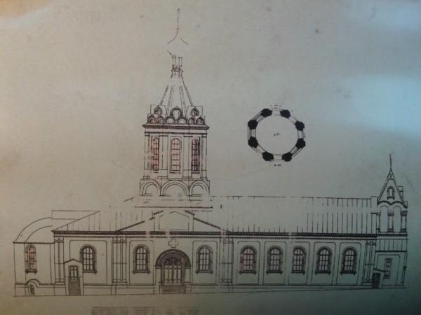 Эскиз внешнего облика строящегося храма. 1903 год