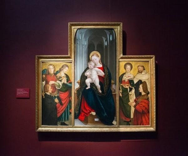 Джироламо Джовеноне. Мадонна с Младенцем. Святой Михаил, неизвестная святая и донатор. Святая Лючия, святой Доминик и донатор. 1527, дерево, масло
