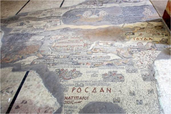 На центральной части мозаичной карты изображён Иерусалим