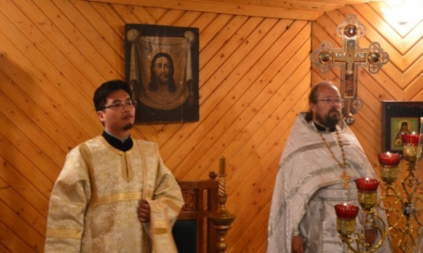 Иеродиакон-японец участвовал в литургии на малой Родине равноапостольного Николая Японского