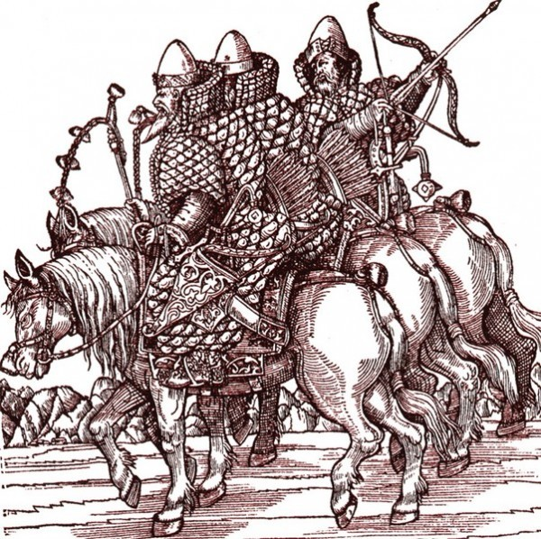 Из книги Сигизмунд Герберштейн Записки о Московии, XVII век. Воины в кафтанах, подбитых хлопком