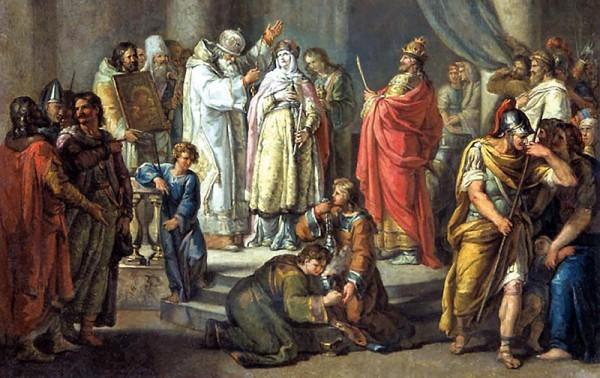 Крещение Ольги в Константинополе. Акимов Иван, 1972 год