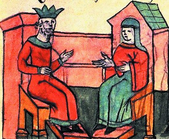 Прием княгини Ольги византийским императором Константином Багрянородным. Миниатюра из Радзивиловской летописи. Начало XIII в.
