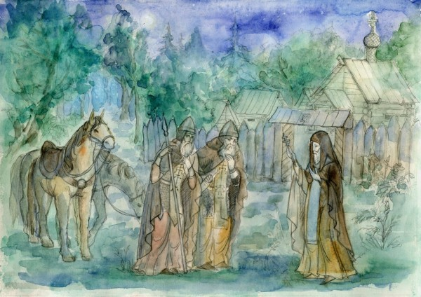 Святой Сергий благословляет Ослябю и Пересвета