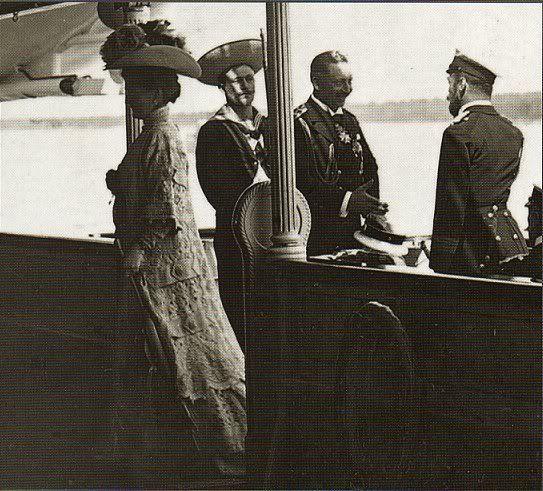 Kaiser Wilhelm II greeting his cousins Tsar Nicholas II and his wife Alexandra Feodorovna