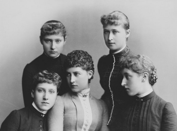 Princesses Marie Louise of Schleswig-Holstein, Alix of Hesse, Charlotte(Princess Bernhard of Saxe Meiningen), Irene of Hesse and Helena Victoria of Schleswig-Holstein. c. 1885. The Royal Collection.