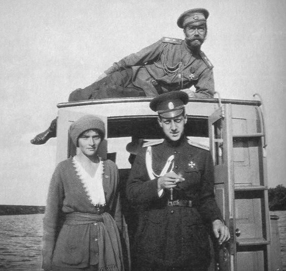 Tsar Nicholas II, Grand Duchess Tatiana and Grand Duke Dmitrii Pavlovich (younger cousin to the Tsar
