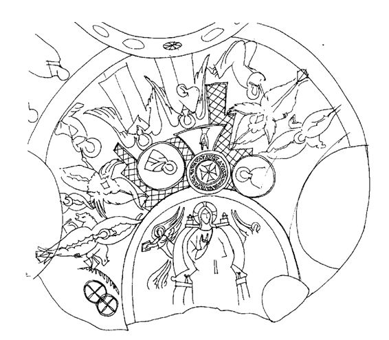 Схема росписи потолка алтарной апсиды  церкви Трех Крестов в Каппадокии. IX–X вв.