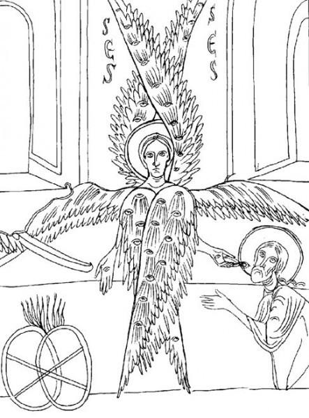 Очищение уст пророка Исайи. Фрагмент алтарной росписи церкви Санта Мария в Ане в Каталонии. Конец XI в. (Ныне в Барселонском музее).
