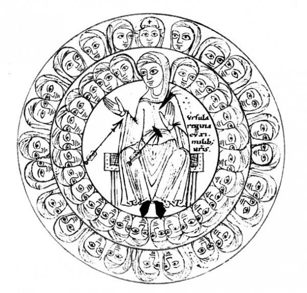 Святая Урсула с ученицами. Гравюра из рукописного календаря (сер. XII в.).  Штутгарт, библиотека земли Вюртемберг, Cod. 45