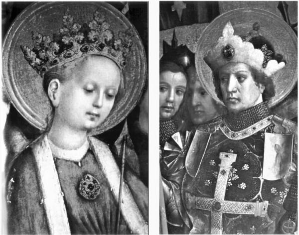 Святая Урсула, святой Гереон. Детали алтарного триптиха работы Стефана Лохнера. (Ок. 1445 г.). Кельн