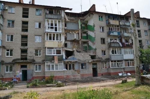 Один из домов г. Славянск 21 июля 2014 года
