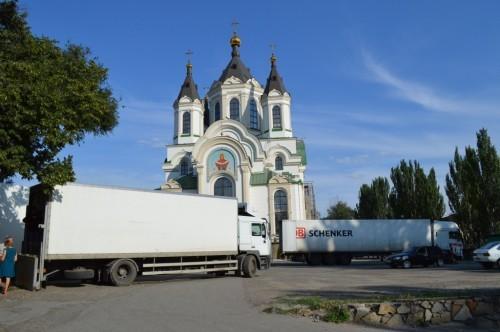 Отправление гуманитарного груза 28 тонн в Славянск и Святогорскую Лавру с территории Свято-Покровского собора г. Запорожье 20 июля 2014 г.