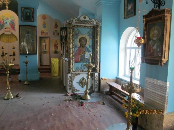 Снаряд попал в храм Донецкой епархии