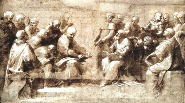 Рафаэль Санти. Эскиз фрески «Диспут»