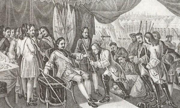 Петр I после Полтавской победы возвращает пленным шведским генералам шпаги