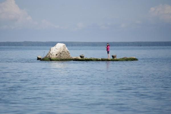 Южнее города Мологи. Странно выглядят остатки города посреди ровной воды, и эта странность привлекает сюда туристов.