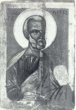 Древнерусская икона (Новгород, XIV â.). На лике Апостола твердая несокрушимая вера, бесстрашие Божие.