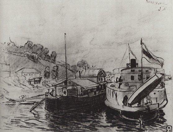 Кинешма. Пароход у пристани, 1906 год