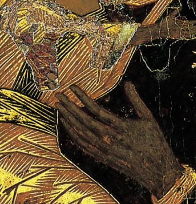 Богоматерь Владимирская. Константинополь. 1-я треть XII в. ТГТ, Москва. Фрагмент